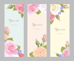 Set vertical floral greeting card