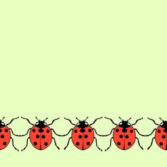 Seamless decorative border from flat ladybug on green background