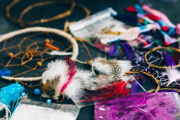 Colorful bright dreamcatcher components. Handmade accessory for bedroom decoration. Creativity, handmade, handicraft concept