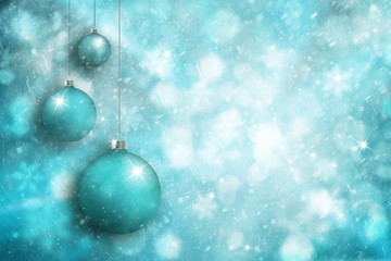 Cyan blue color Christmas bulbs set with sparkle on bright blurred snowy winter background. Christmas and Happy New Year holiday background with place for message. Greeting card illustration.