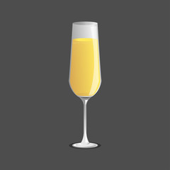 champagne  glass and  champagne, Vector