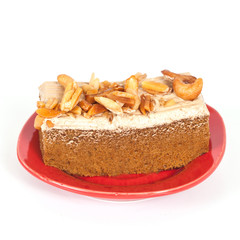 Coffee cake with cashew nut on white background