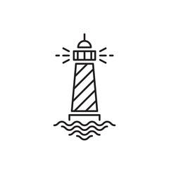 Lighthouse icon, line design. Minimalistic logo design. Vector illustration EPS 10 isolated on white background