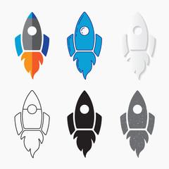 Rocket ship icon, vector set. Line design, silhouette, grunge design.