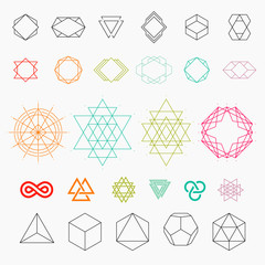 Set of geometric icons. Hexagons, shapes, logos. Line art, vector illustration EPS 10