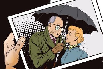 Elderly man closes the girl from the rain umbrella.