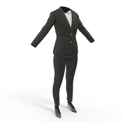 Women business suit isolated on white, 3D Illustration