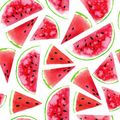 Watercolor seamless pattern with colourful watermelon slices. Raster summer design background.