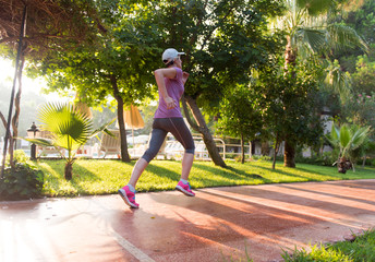 sporty woman jogging