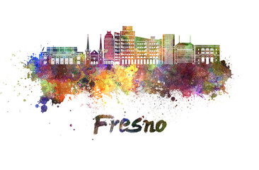 Fresno V2 skyline in watercolor