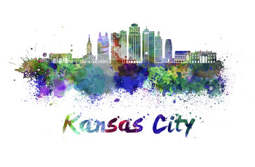 Kansas City V2  skyline in watercolor