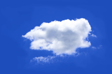 Cloud isolated on blue screen.