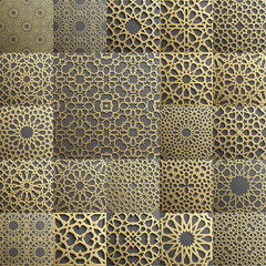 Islamic pattern set of 22 ornaments.Seamless arabic geometric , east ornament, indian , persian motif, 3D. Endless texture can be used for wallpaper,  fills, web page background,surface textures.