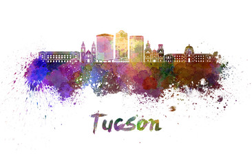 Tucson V2 skyline in watercolor