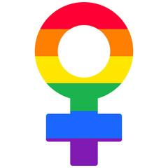 Lesbian woman rainbow  isolated vector symbol