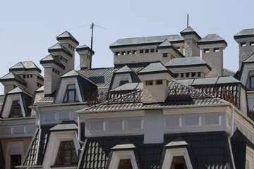 Roofs of houses in the street Vozdvizhenka. Kiev, Ukraine