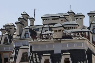 Roofs of houses in the street Vozdvizhenka. Kiev, Ukraine