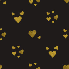 Golden hearts seamless pattern
