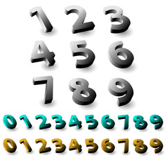 Set of 3d numbers. Isolated font on white background