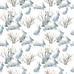 Rabbit in winter. Watercolor seamless pattern