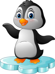 Cartoon penguin standing on floe