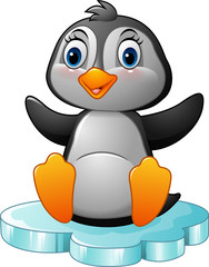 Cartoon funny penguin sitting on ice