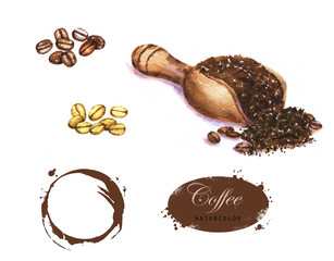 Hand-drawn watercolor illustration of the coffee. Coffee spot, green and black coffee beans, ground coffee isolated on the white background.