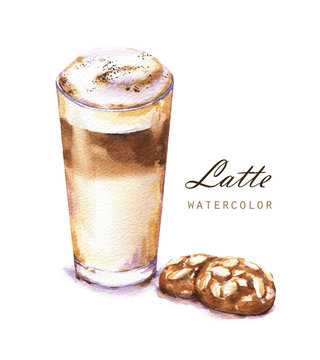 Hand-drawn watercolor illustration of the coffee. Glass of the latte and cookies isolated on the white background.