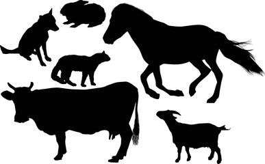 six black farm animals collection