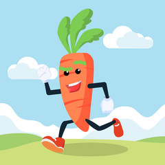 carrot man running in field