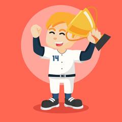 baseball player holding trophy