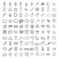 One hundred Vector linear icons set thin line icons set for infographics and UX UI kit. Contains barber shop, technology & computers, ecology and forest, vapor and smoking themes