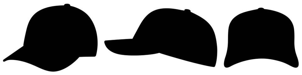 black vector baseball cap set flat icon symbol / Vektor Baseball Kappen Sammlung