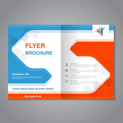 Vector modern brochure, abstract flyer with simple squared design. Layout template with arrows. Aspect Ratio for A4 size. Poster of blue, orange, grey and white color. Magazine cover.