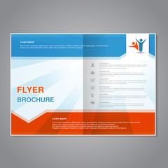 Vector modern brochure, abstract flyer with simple striped design. Aspect Ratio for A4 size. Poster of blue, white and orange color. Layout template, magazine cover.