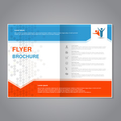 Vector modern brochure, abstract flyer with simple dotted design. Aspect Ratio for A4 size. Poster of blue, grey, white and orange color. Layout template, magazine cover, book cover.