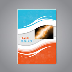 Vector modern brochure, abstract flyer with simple modern design. Aspect Ratio for A4 size. Poster of blue, grey, white and orange color. Layout template, magazine cover, book cover.