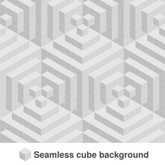 Vector squared monochrome pattern. Seamless geometric texture in grey color. Black and white stylish tiles. 3d abstract dynamic background created of cubes.