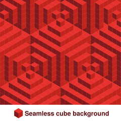 Vector squared pattern. Seamless geometric texture in red color. Effect stylish tiles. 3d abstract dynamic background created of cubes.
