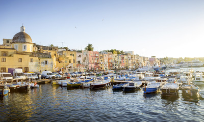 Panorama of Marina Grande harbor on Procida island in Campania, Italy