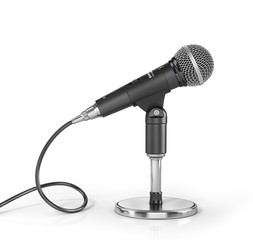 Microphone on the stand on a white background. 3d illustration