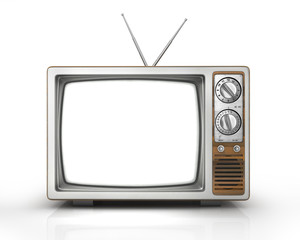 Mass media concept. The old TV with blank white screen on the is