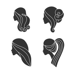 Beautiful woman profile silhouette. Girls collection. Set of vector illustrations