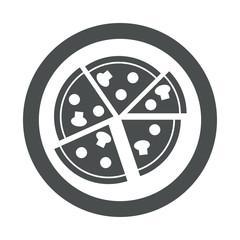 Icono plano pizza en porciones en circulo color gris