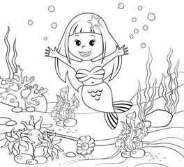 Mermaid. Underwater world. Black and white illustration for coloring book