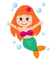 Cute little mermaid. Vector illustration isolated on white background