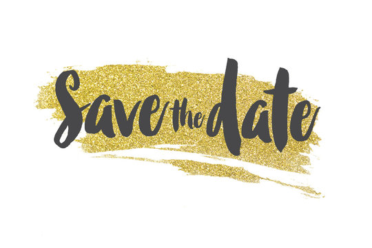 Save the date message on a gold sparkling glitter background