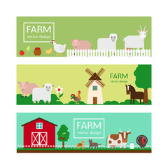 Farm animals in flat style vector banner templates