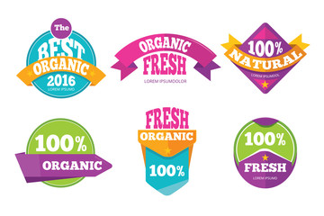 Colorful organic fresh natural labels set
