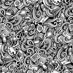 Cartoon hand-drawn doodles Design and Art seamless pattern